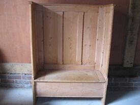 STRIPPED PINE MONKS BENCH / SETTLE.PEW WITH STORAGE. Delivery poss. Also church chairs for sale.