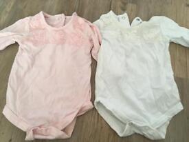 Girls detailed vests 0-3 months.