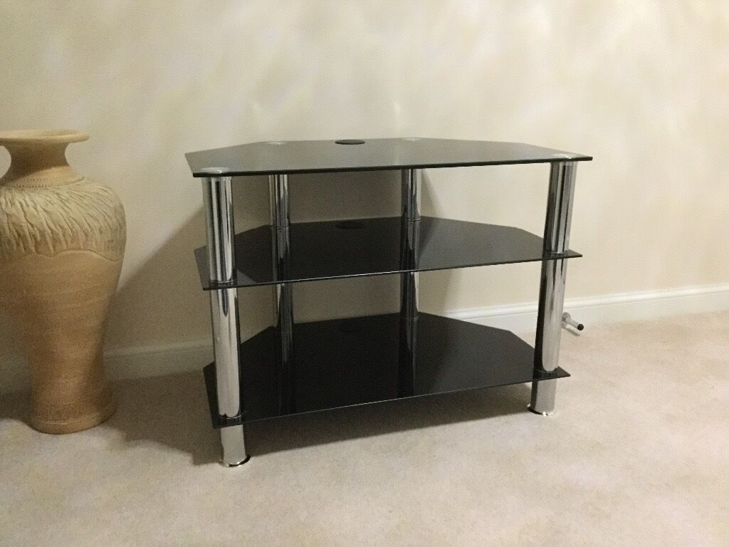 Black Glass And Chrome Corner Tv Stand In Troon South Ayrshire