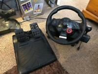 Gran tourism steering wheel and pedals