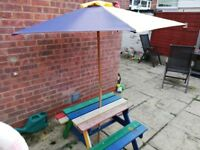 Children's picnic bench with parasol