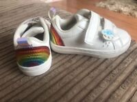 Girls size 5 rainbow trainers from next