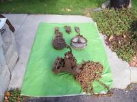 Antique Pullies , PUMP, Bolt Cutters, Pipe tool +Block & TAckle