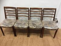 Set of 4 mid century ladder back chairs