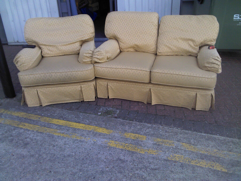 Two Piece Kirkdale British Made Sofa Suite On Wheels With Matching