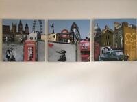 Banksy style 3 piece canvas set