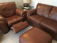 Dfs four seater leather settee with electric reclining chairs and stool