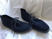 Calvin Klein low-cut suede boots, Navy blue with grey sole. Size UK 10 (US 11) - As new, Worn twice!