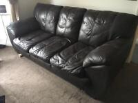 Brown Leather 3 Peice Suite 2 Seater Sofa, 3 Seater Sofa & Storage Footstool