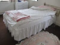 """Single Bed 2ft 6"""" with brass headboard & all bedding"""