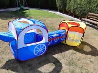 Outdoor play tent with plastic balls
