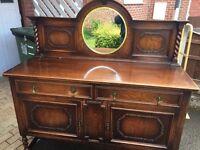 Oak barleytwist mirror back sideboard
