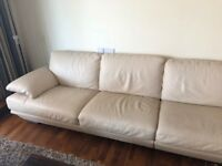 Natuzzi Plaza Leather Sectional Sofa 6 Seater Soda [Great Condition]