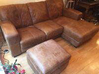 Distressed brown leather, DFS Caesar right-hand facing 3-seater chaise end sofa + storage footstool