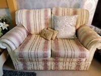 Two 2 seater sofas plus footstool