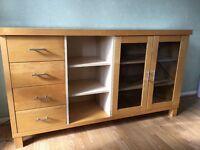 Modern satin wood display unit with glass doors draws sideboard storage cabinet