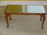 Elegant Coffee Table w/ Leather Inlay & Occasional Side/Drinks Table