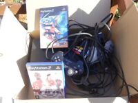 Sony Playstation 2 plus 2 games and controllers