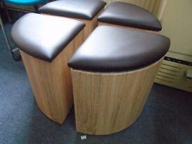 triangle shaped space saving stools.