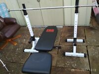 Dumbbell bench , stands , 2 x bars Good condition