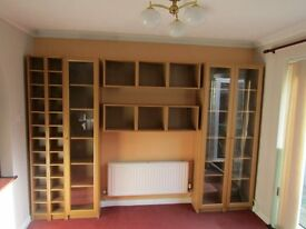 Ikea Billy bookcases and storage units. Brown ash veneer