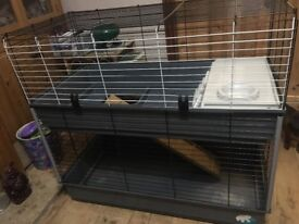 Two tiered cage suitable rabbits, Guinea Pigs and adult rats