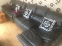 3X THREE BLACK LEATHER RECLINER LEATHER SOFAS!!!