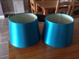 FREE - 2 TEAL COLOURED LAMP SHADES