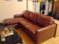 Like New: John Lewis Corner Unit Leather Sofa, 220CM