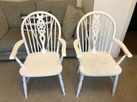 Pair of farmhouse wheelback Ercol kitchen dining chairs
