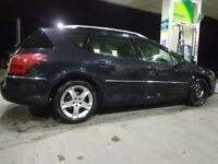 57 reg top spec 6 speed black peugeot407 2.0 hdi diesel estate+full service history+mot+tax+DELIVERY