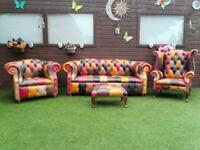 REAL LEATHER CHESTERFIELD SUITE