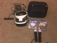 Playstation 4 VR Headset. Move Controllersx2. Starblood Arena. Resident Evil Bio. Carry Case