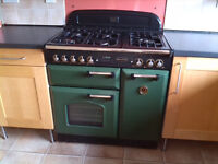 Rangemaster Oven, Classic. Gas hob, electric ovens, racing green,