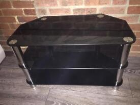 Black gloss & chrome glass corner tv stand
