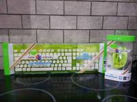 Green pink and blue c thru wireless keyboard and mouse