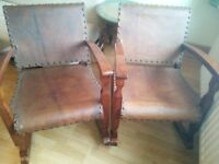 VINTAGE - 2 Rocking chairs . SOLID WOOD AND COW HIDE