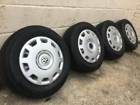 "GENUINE VW 15"" STEEL WHEELS w/NEW TRIMS/HUBCAPS - 195/60/15 6-7mm TYRES - SLOUGH"
