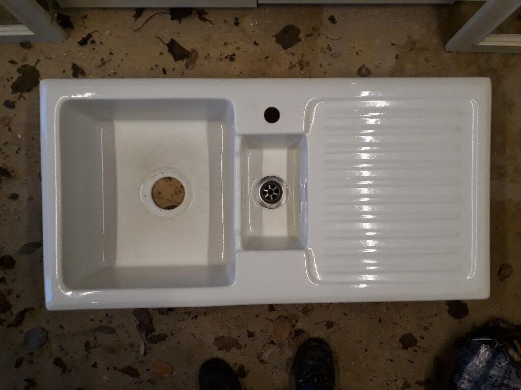 Ceramic 1 5 Bowl Used Kitchen Utility Room Sink