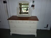 Shabby Chic Mahogany Stag Chest of Drawers and Swing Mirror chalk painted in an Antique Cream