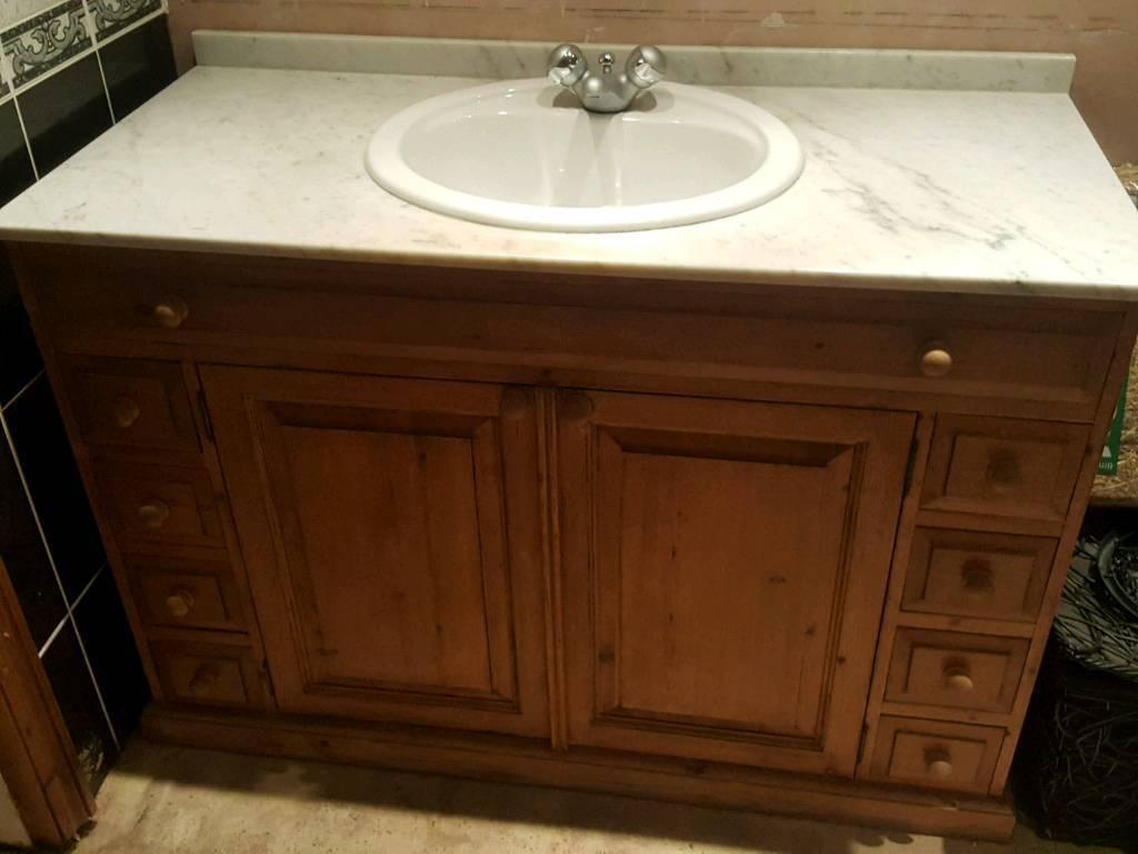 Marble Top Solid Pine Bathroom Vanity Unit Solid Unit With Plenty