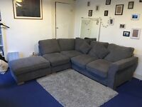 Hugo Corner Sofa with Formal Cushions and Footstool **ORIGINALLY £999 TAKING OFFERS AROUND £200**