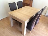 Dining table 95x150 (extandable) with chairs