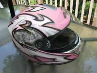 motorcycle helmet full face,zox,large/ pink, like brand new