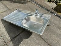 Huge excellent condition kitchen utility or catering stainless steel sink with 3 taps