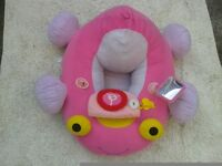 Pink musical baby soft sit in car EXCELLENT CLEAN