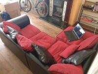 Red and black corner fabric sofa