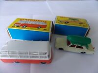 Two Matchbox vehicles, a Ford Corsair and a Mercedes coach in original boxes.