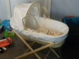 *Lovely cream/beige Moses basket* with stand+all bedding included