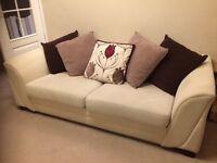 Cream sofa and armchair - good condition